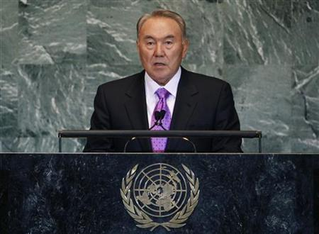 Kazakhstan's President Nursultan Nazarbayev addresses the 66th United Nations General Assembly at the U.N. headquarters in New York, September 21, 2011. REUTERS/Shannon Stapleton